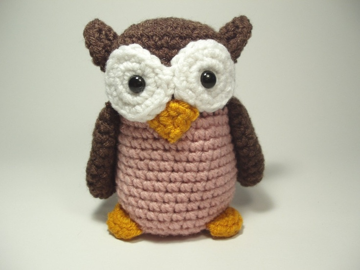Crocheted Owl Stuffed Animal Toy Brown And Pink