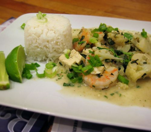 Thai Green Curry with Shrimp, Tofu, and Cauliflower