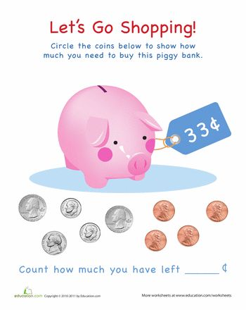 piggy bank counts money