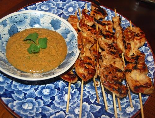Chicken Satay & Cilantro Peanut Sauce