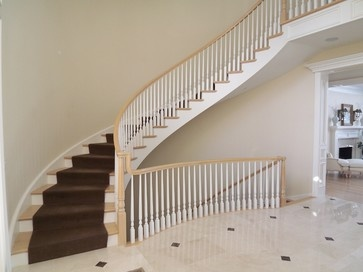 open staircase to the basement down in the basement