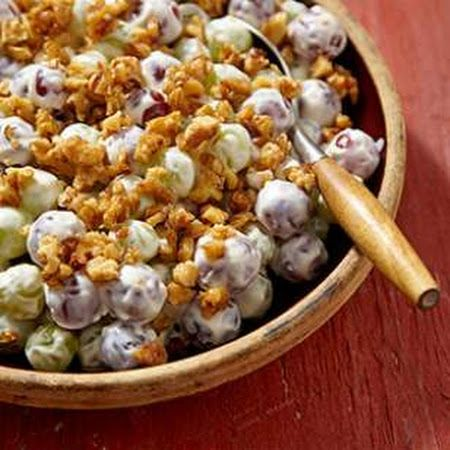 Creamy Grape Salad with Candied Walnuts   yum   Pinterest