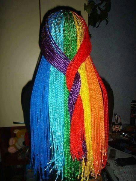 Rainbow braids   Coolest Hair Ever   Pinterest Rainbow Braids