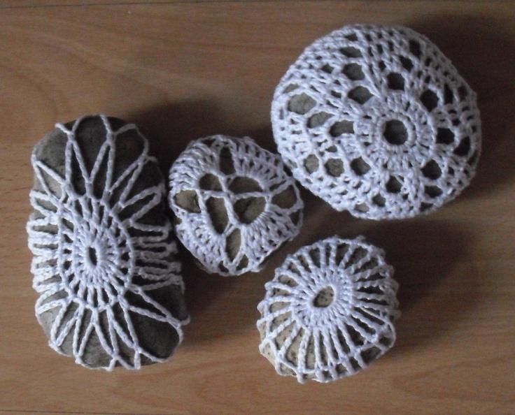 gentle yarn bombing Crochet stones rocks Garden Rocks ...
