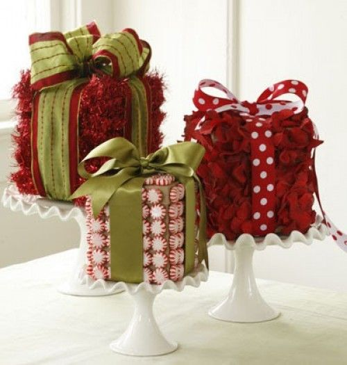 Pretty wrapped boxes on pedestals