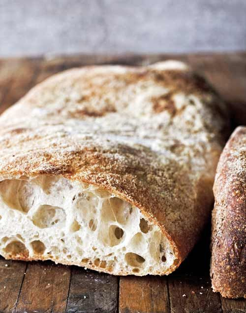 Ciabatta bread. This reminds me of English muffins with all the nooks ...