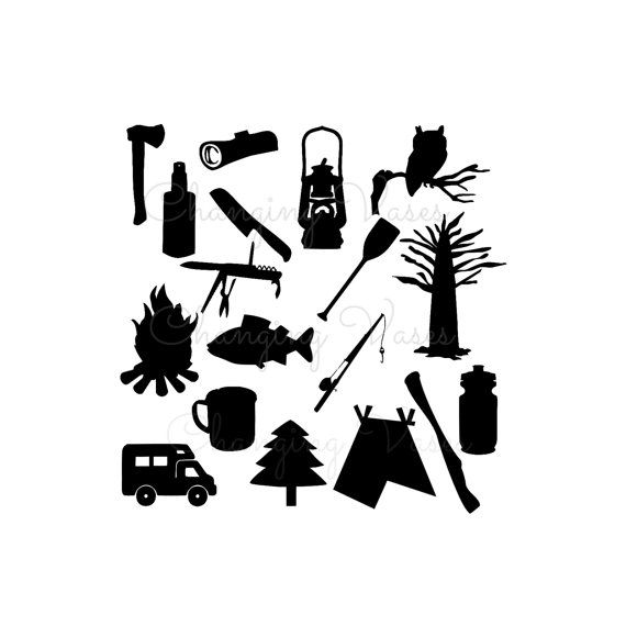 Digital Download Illustration, Camping Silhouette Graphics ...