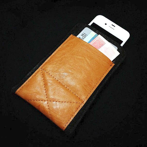 Black Wool Felt with Light Brown Leather Pocket iPhone Sleeve. $12.95