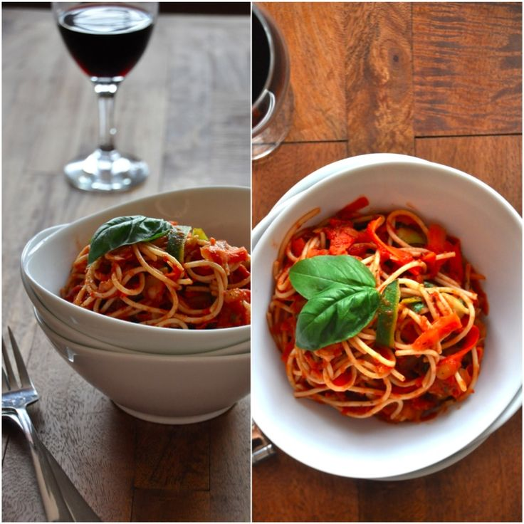 Three Color Pasta with Roasted Red Pepper Sauce | Recipe