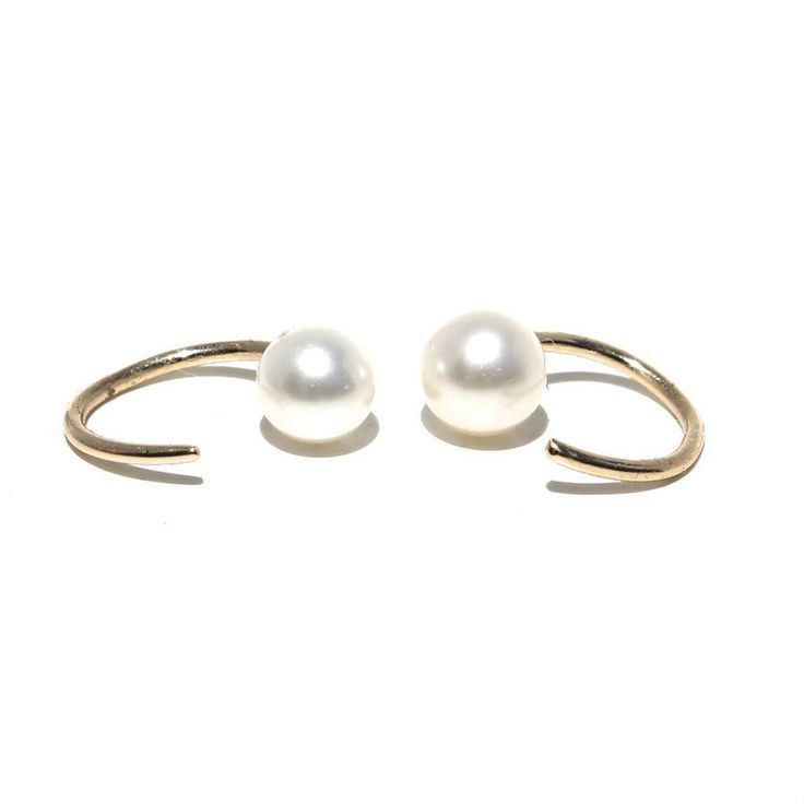 Visibly Interesting: Freshwater Cultured Pearls on dainty solid 14K Gold hoops designed to hug the ear lobe  http://www.visibleinterest.com/shop-by-category/earrings/tiny-pearl-earrings/lumo