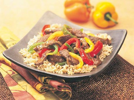 Chinese Pepper Steak (Stir-Fried Beef With Onions, Peppers, And Black ...