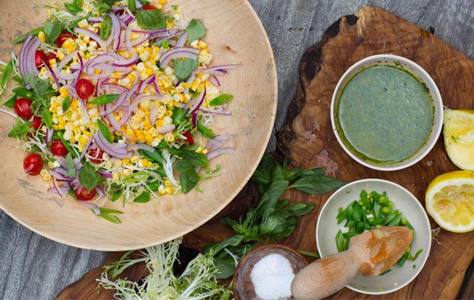 halibut with pesto and summer salad   food   Pinterest