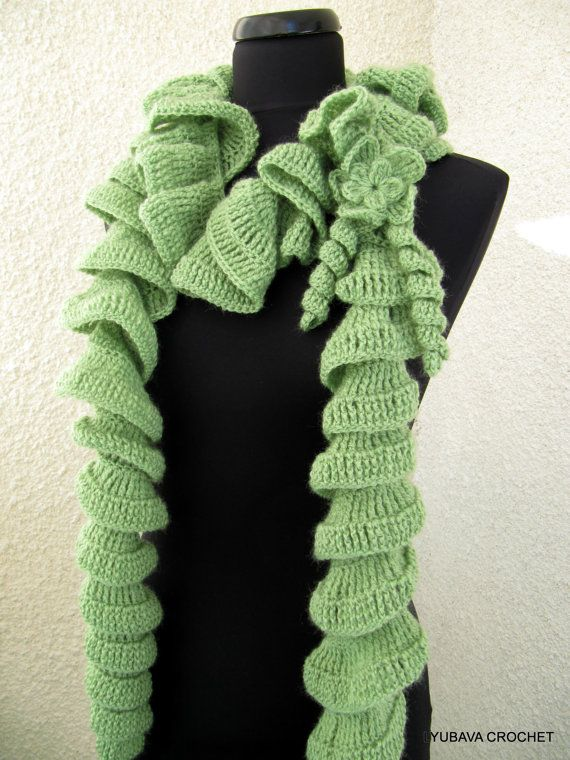 ... Crochet Patterns Ruffle Scarf With Flower, Beautiful Scarf Easy