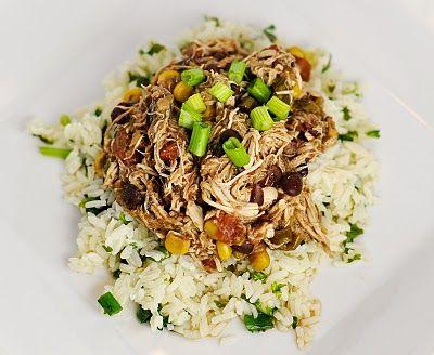 "Skinny"" Crock pot Santa Fe Chicken. Serve over cilantro lime rice ..."
