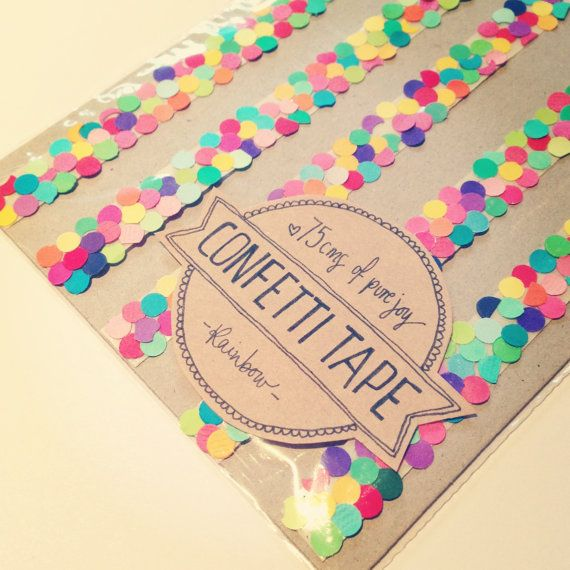 "Create ""confetti"" tape using double-sided tape. Adhere one side to the card, and sprinkle confetti over the other side. Perfect to celebrate birthdays or service anniversaries."