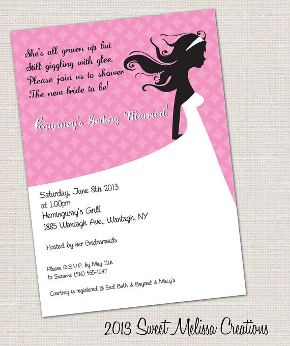Silhouette Bride Bridal Shower Invitation by SweetMelissaCreation