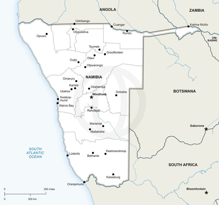 map of Namibia, printable and editable - Download political vector ...