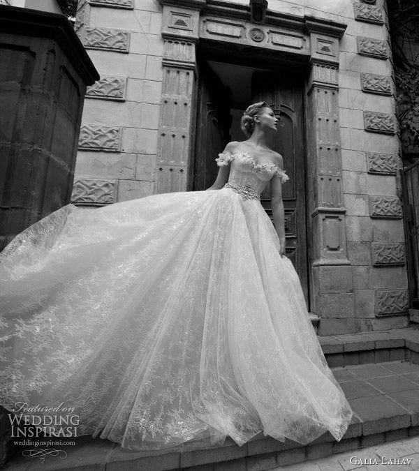 Galia lahav fairytale princess worthy wedding gown featuring flower