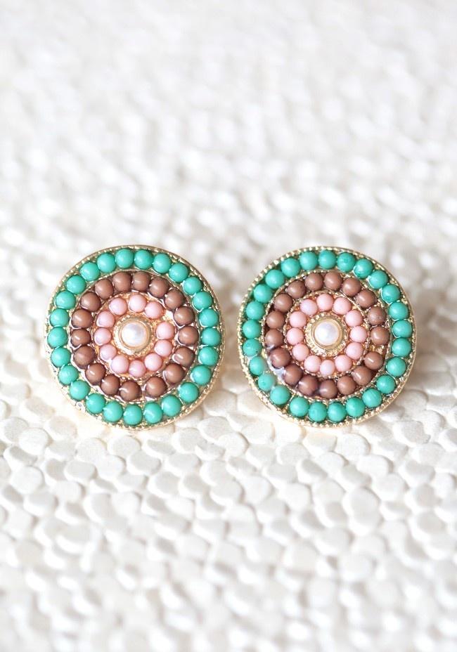 Sun Disc Beaded Earrings | Modern Vintage Jewelry