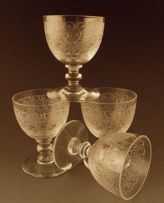 Vintage crystal stemware baccarat cordials rohan pattern set of 4 - Baccarat stemware ...