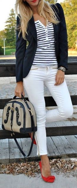 Nautical Outfit w/Bow Pumps . I like this outfit but not sure i can keep white pants clean lol!