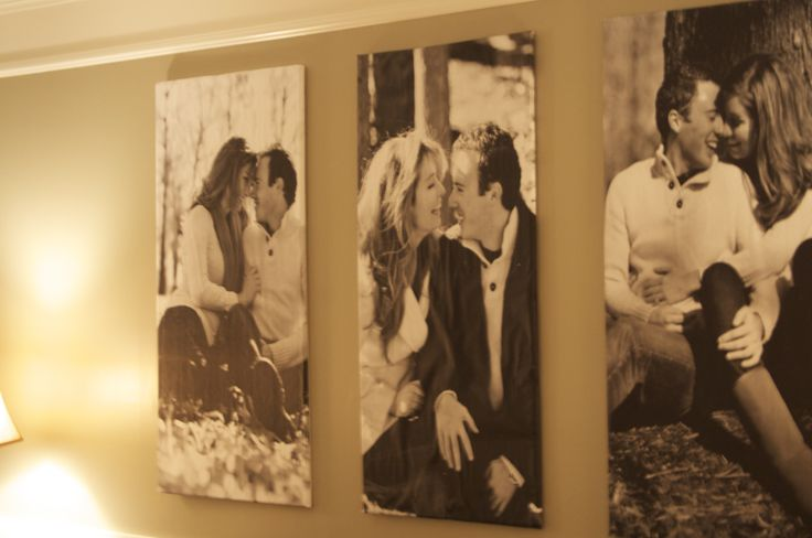 Do this with wedding photos and hang behind our bed.