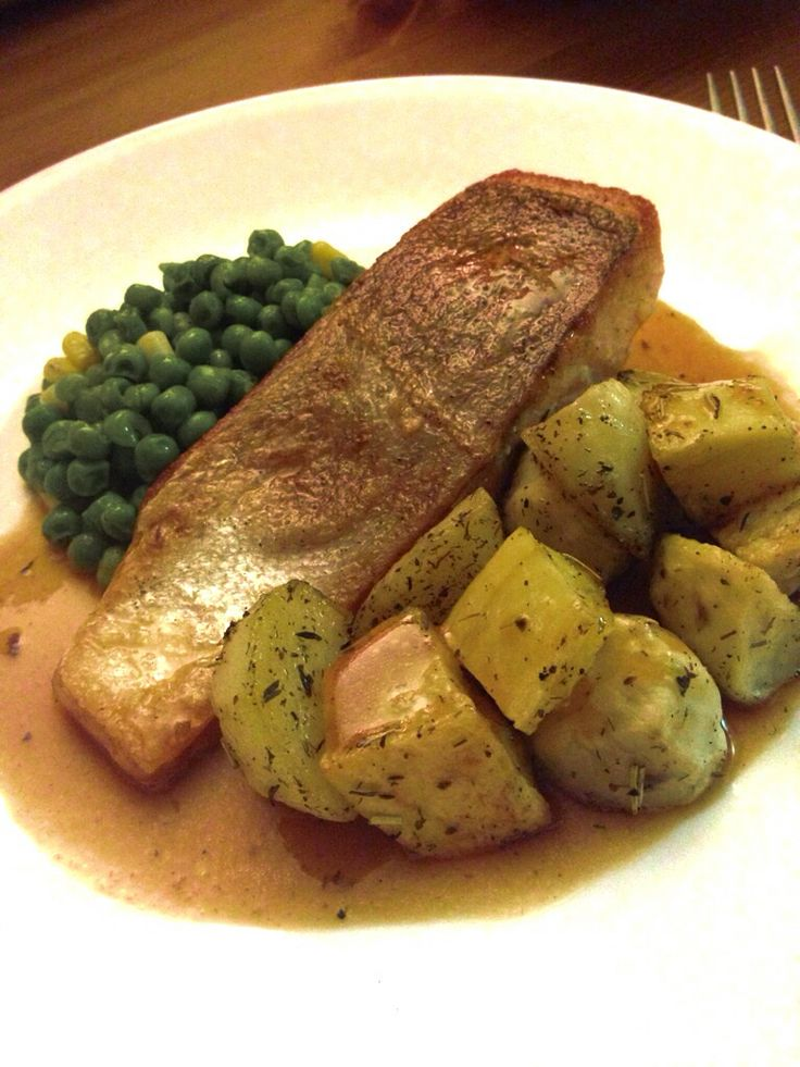 ... trout with oven roasted basil rosemary potatoes, peas, and corn