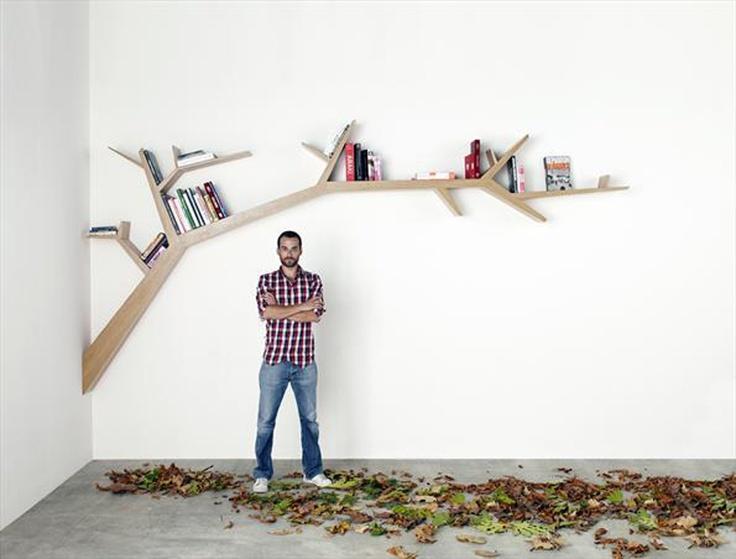 Wooden tree branch bookshelf beautiful architecture for Tree of life bookshelf