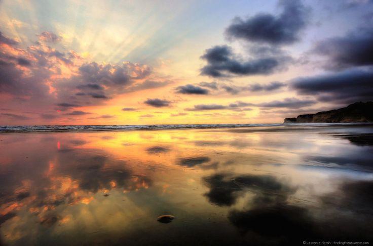 essay a beach at sunset