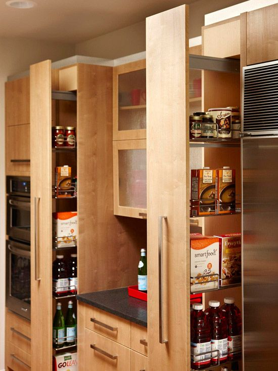 Uses wasted space and saves having to search to the back of a cluttered and dark pantry :)