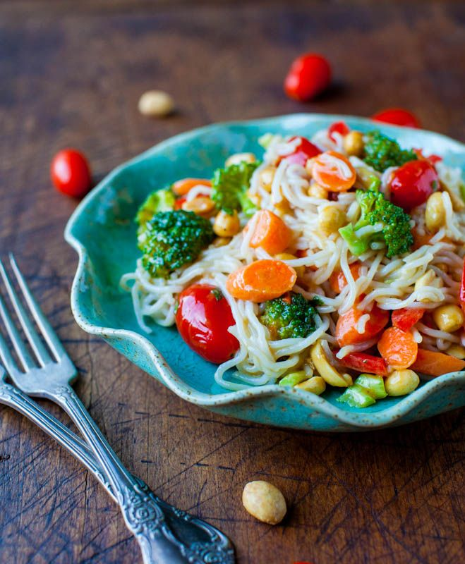 noodles and vegetables with peanut sauce