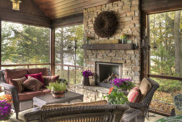 Screened in porch with fireplace garden pinterest for Screened in porch fireplace ideas