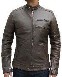 Mens vintage style leather jacket. Vintage style cafe racer Antique