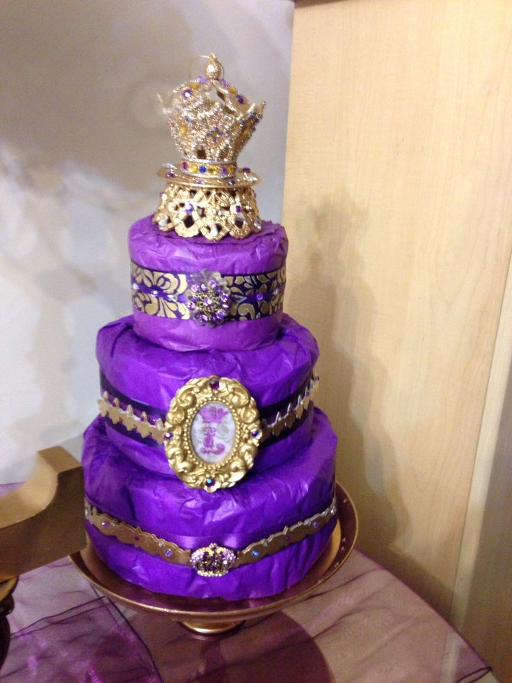 diaper cake purple gold royal themed baby shower baby shower