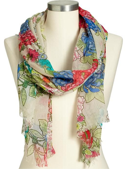 s printed gauze scarves navy clothing