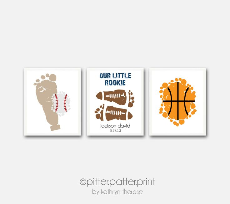 Sports Nursery Wall Art Print Set of 3 5x7 Art Prints - Baby Boy Nurs ...