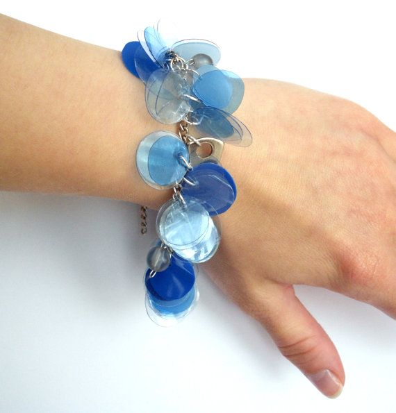 Upcycled jewelry blue charm bracelet made of recycled plastic bottles