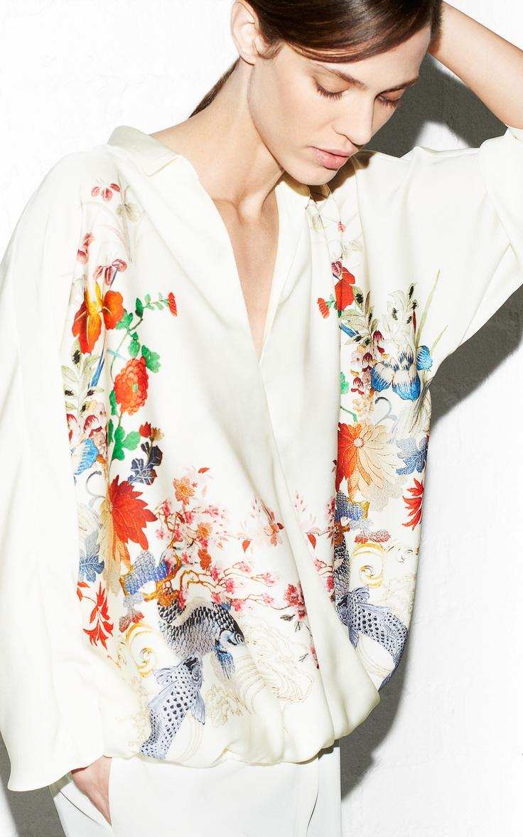 Zara Oriental Print Blouse 77