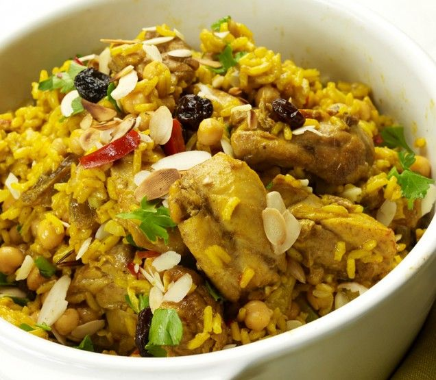 Chicken and Chickpea Pilaf - pass on the raisins, and I don't have ...