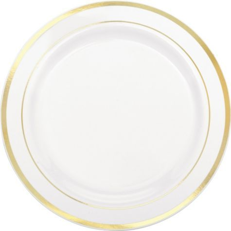 white and gold white and gold plastic dinner plates