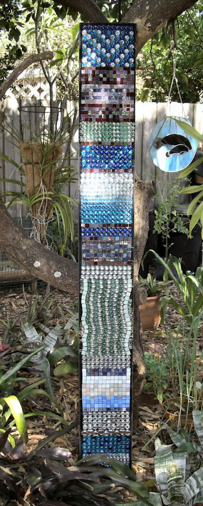 Recycled glass garden art glass art - Recycled glass for gardens ...