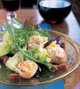 Dining: Salad with Scallops, Andouille Sausage, and baby Greens (would ...