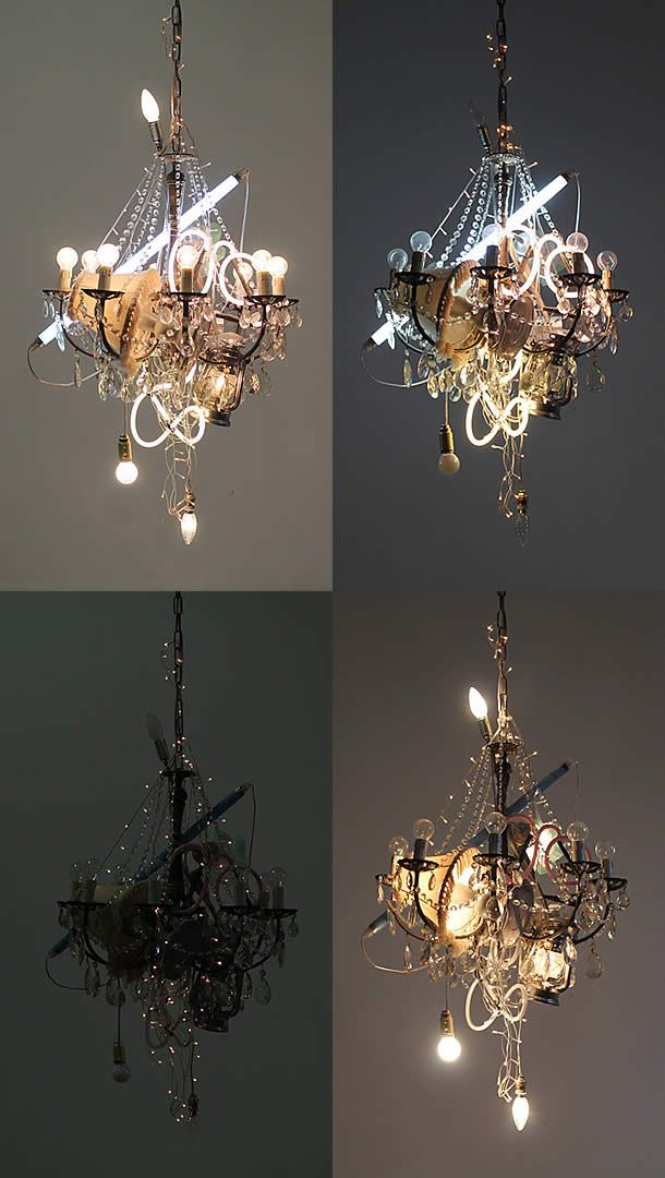 old repurposed chandeliers with neon upcycle pinterest
