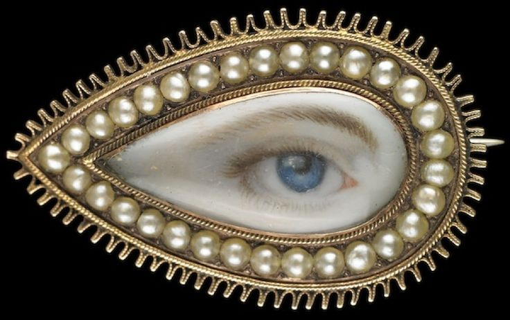 """""""Lover's eyes,"""" hand-painted miniatures of single human eyes set in  jewelry and given as tokens of affection or remembrance. In 1785, when  the Prince of Wales secretly proposed to Mrs. Maria Fitzherbert with a  miniature of his own eye, he inspired an aristocratic fad for exchanging  eye portraits mounted in a wide variety of settings including brooches,  rings, lockets, and toothpick cases."""