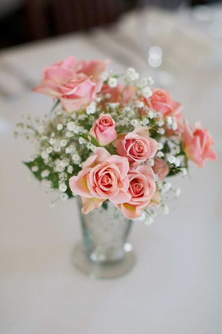 Mini pink roses centerpiece decorating pinterest