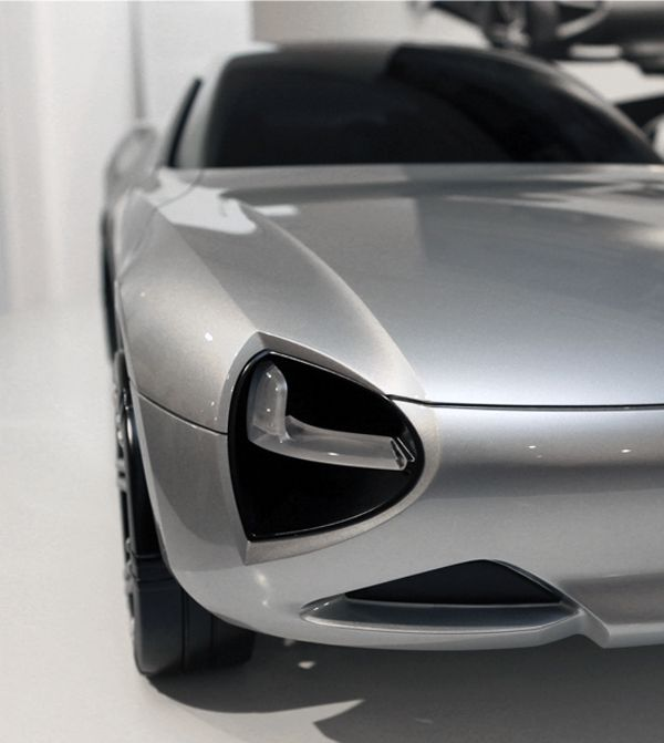 Front light detail of 'eXtremes' Aerogel concept car designed by Marianna Merenmies