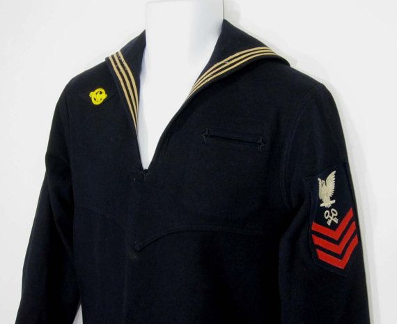 Vintage WWII US Navy Uniform Wool Jumper / Shirt by KumaKumaShop, $34 ...