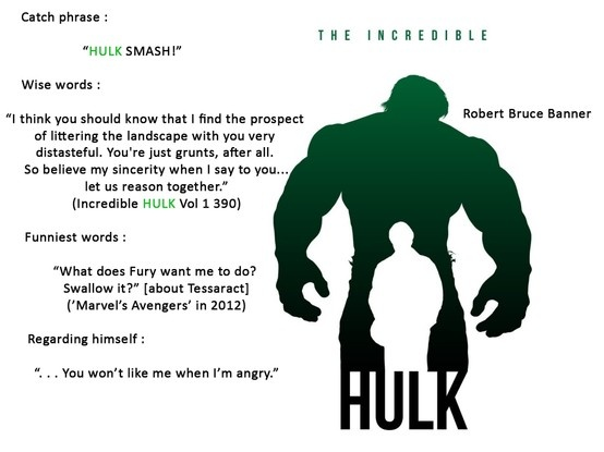 The Hulk AKA Bruce Banner's quotes Marvel Heroes Pinterest