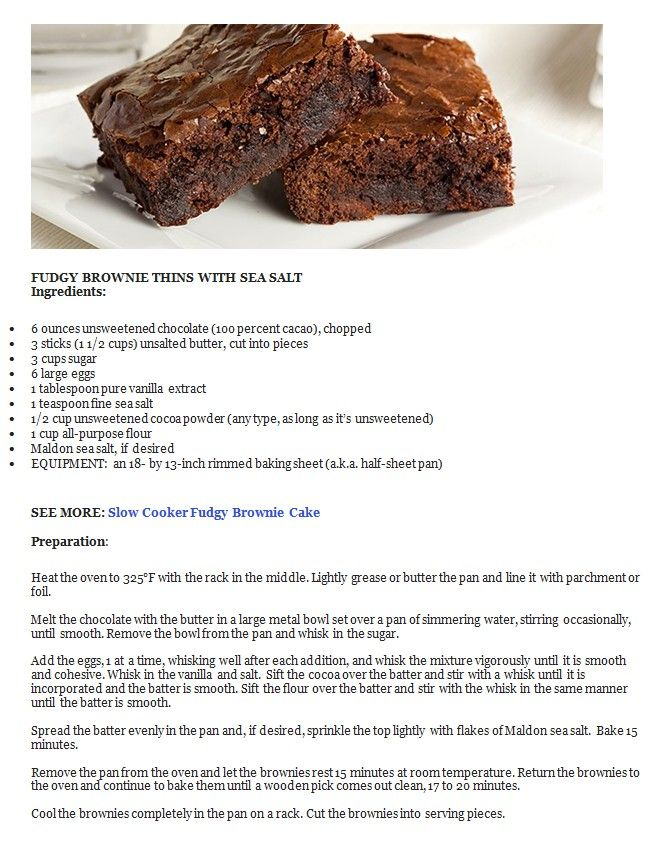 FUDGY BROWNIE THINS WITH SEA SALT | Food - Desserts & Cookie Recipes ...