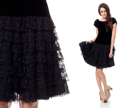 Velvet lace dress 80s black mini party ruffle tiered 1980s low back